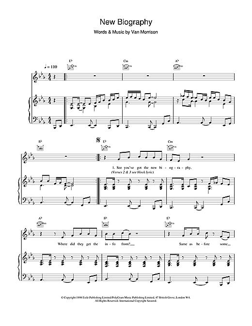 Van Morrison New Biography sheet music notes printable PDF score