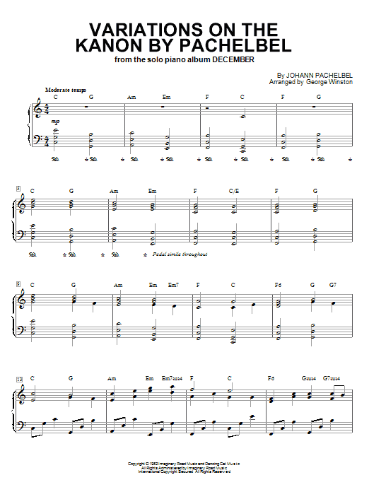 George Winston Variations On The Kanon By Pachelbel sheet music notes printable PDF score