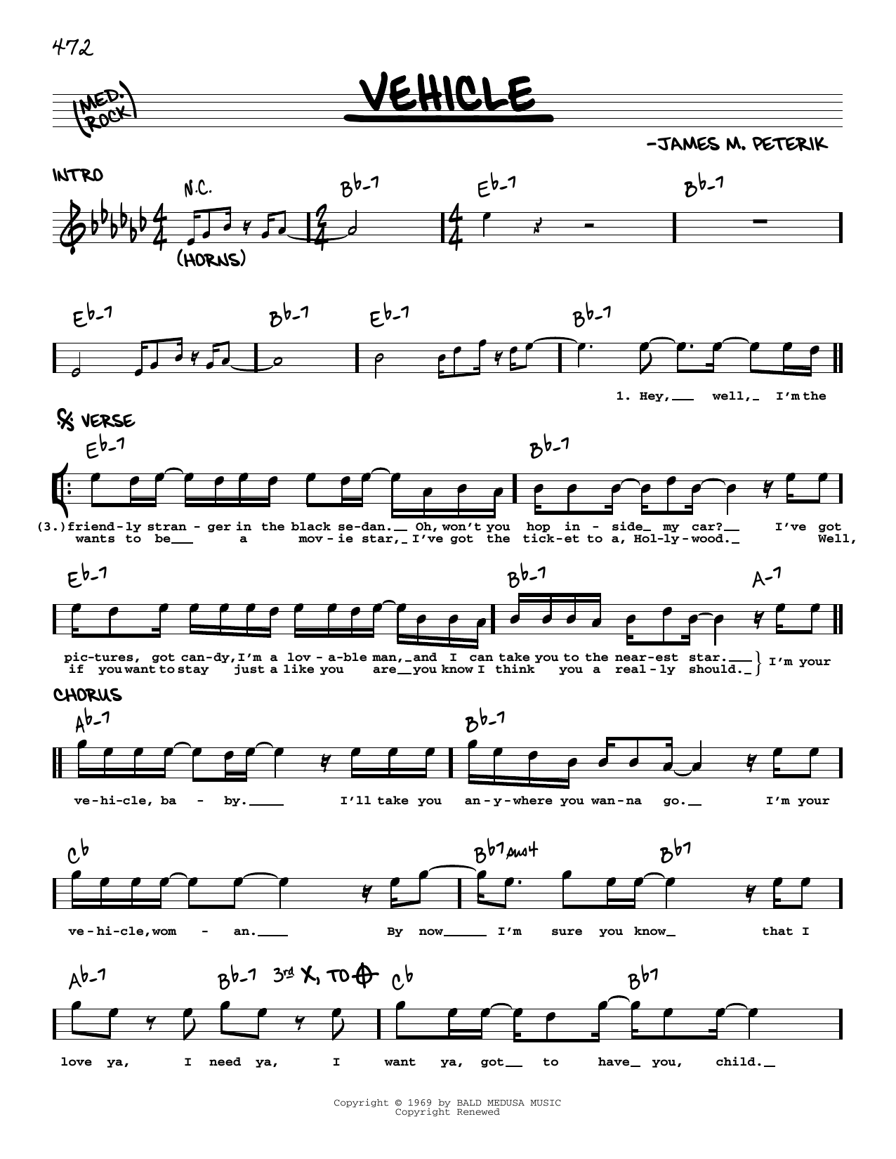 The Ides Of March Vehicle sheet music notes printable PDF score