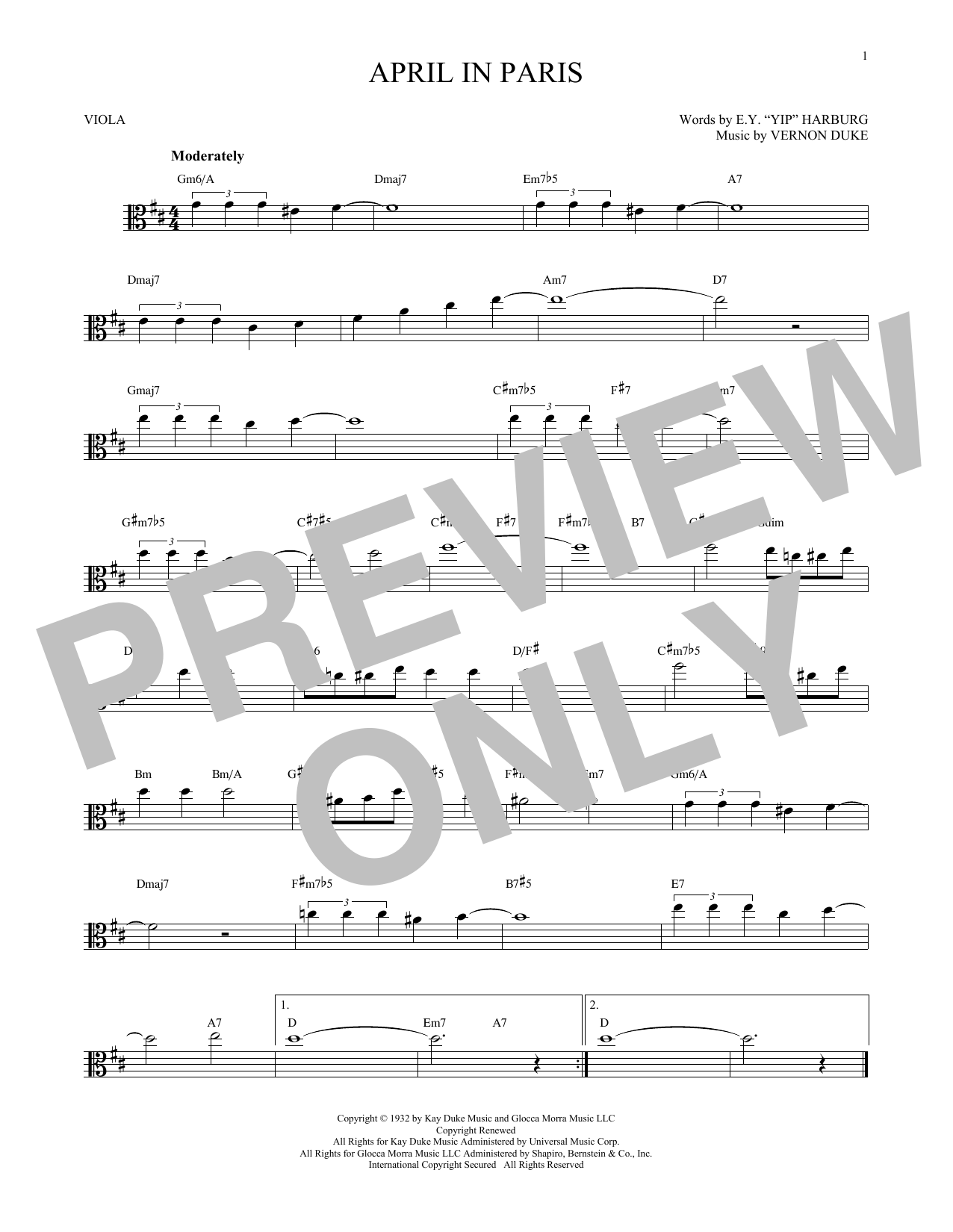 Vernon Duke April In Paris sheet music notes and chords - download printable PDF.