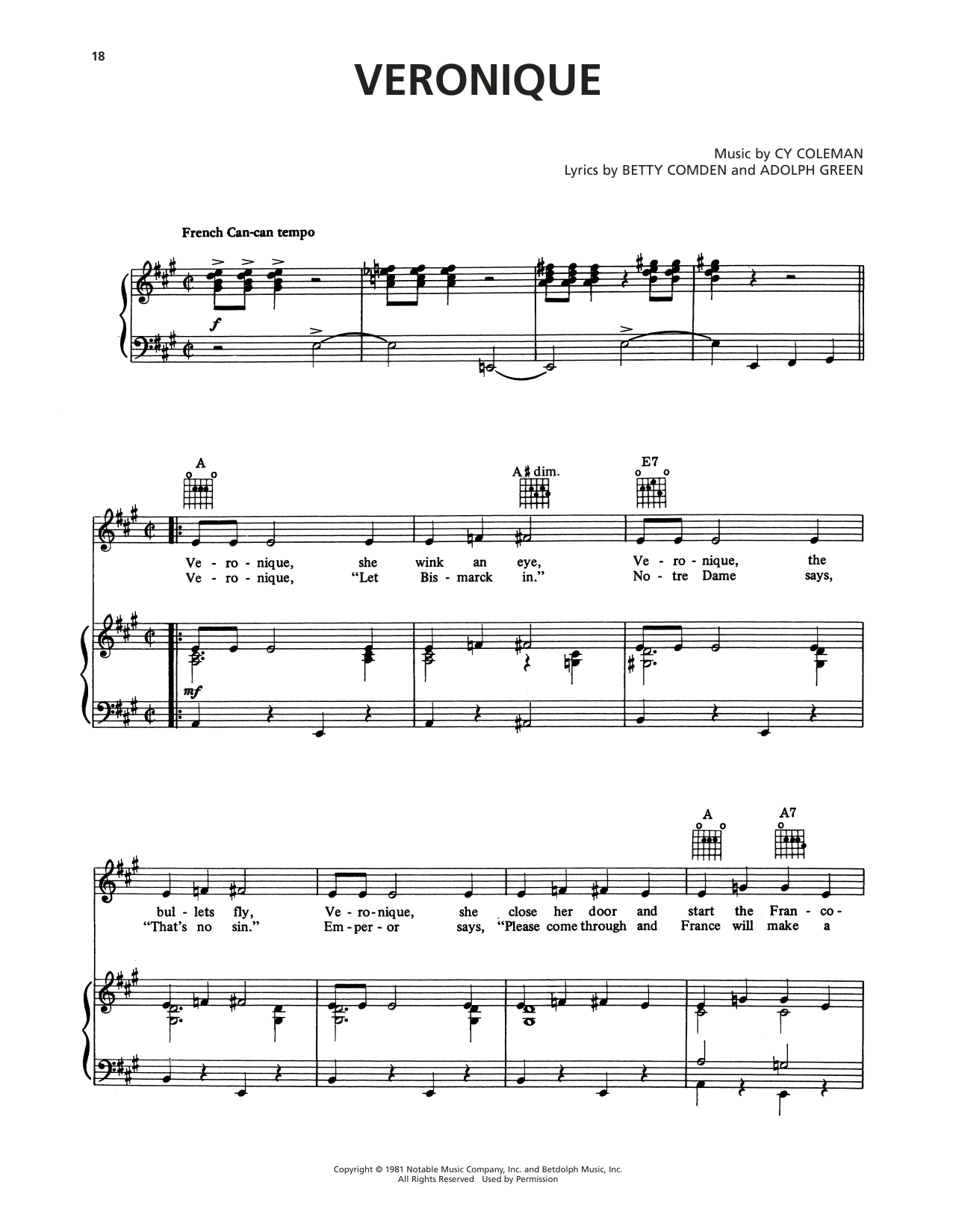 Cy Coleman Veronique (from On The Twentieth Century) sheet music notes printable PDF score