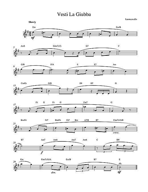 Ruggero Leoncavallo Vesti La Giubba sheet music notes printable PDF score
