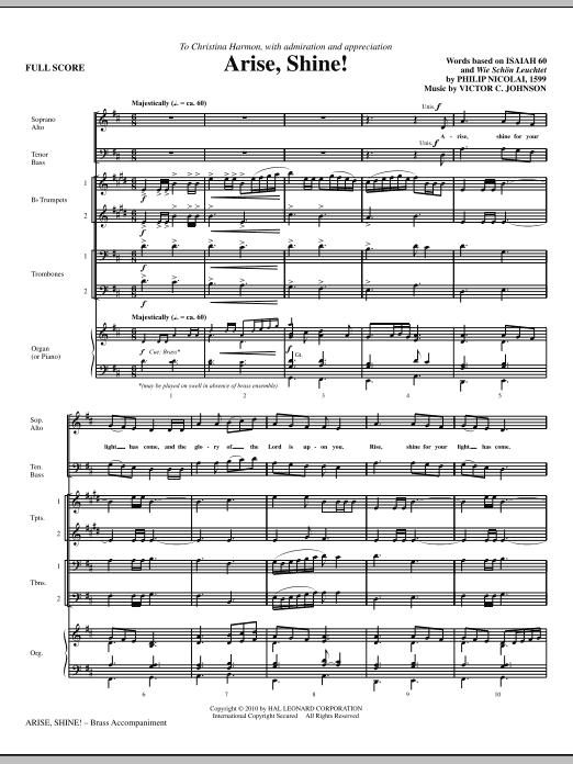 Victor C. Johnson Arise, Shine! - Full Score sheet music notes printable PDF score