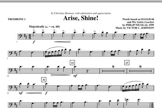 Victor C. Johnson Arise, Shine! - Trombone 1 sheet music notes printable PDF score