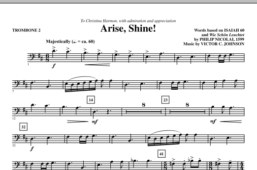 Victor C. Johnson Arise, Shine! - Trombone 2 sheet music notes printable PDF score