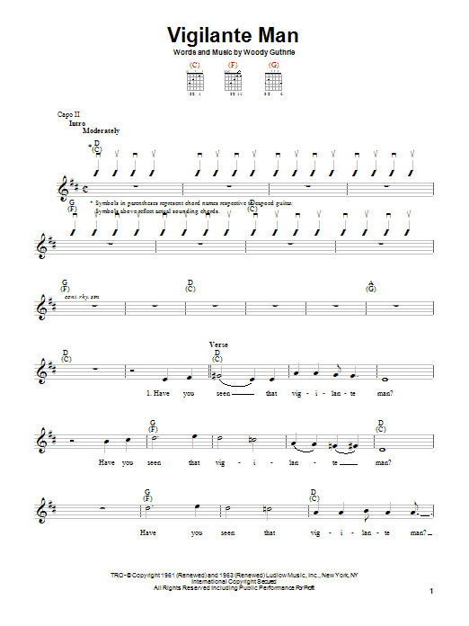 Woody Guthrie Vigilante Man sheet music notes printable PDF score