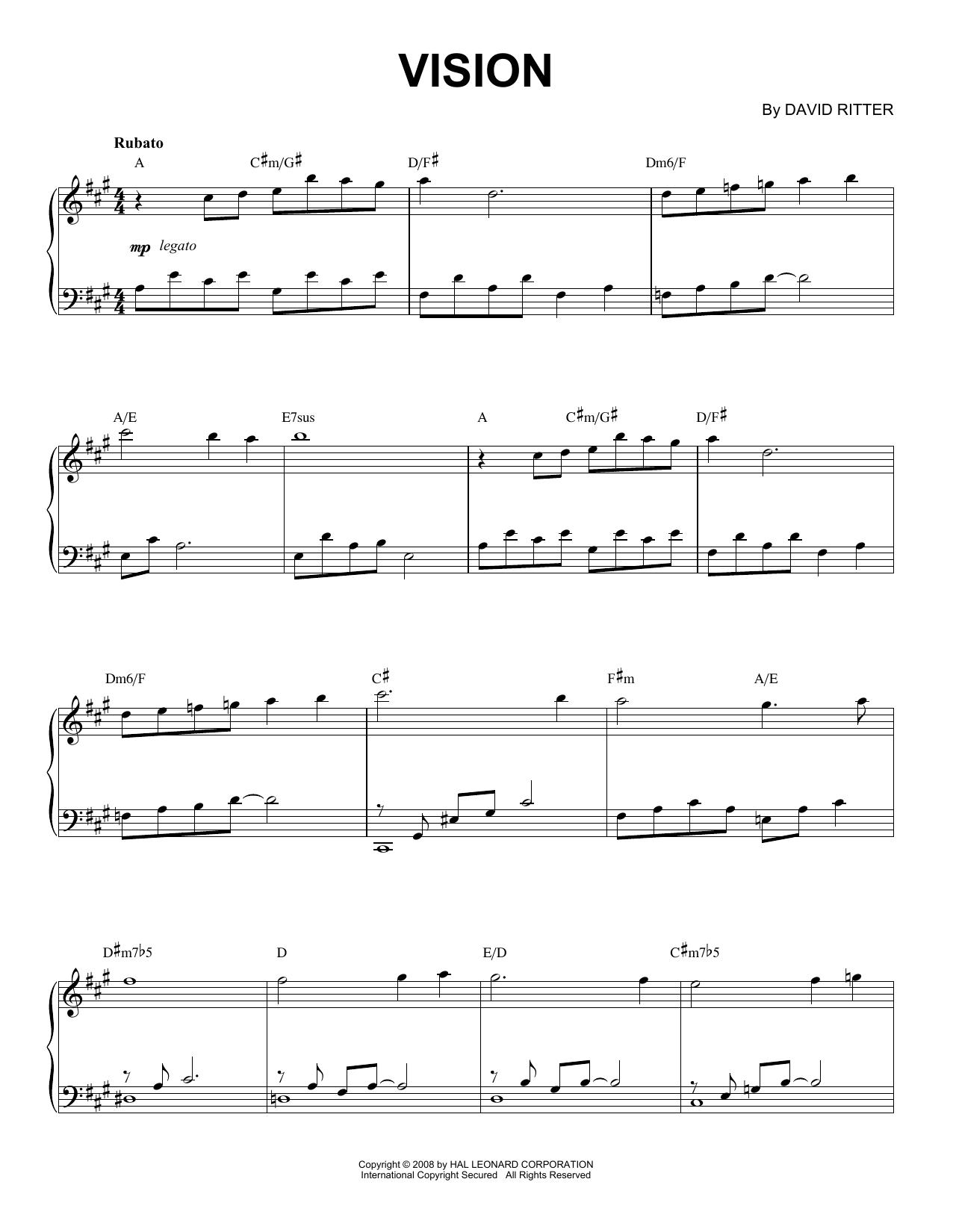 David Ritter Vision sheet music notes printable PDF score