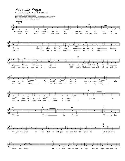 Elvis Presley Viva Las Vegas sheet music notes printable PDF score