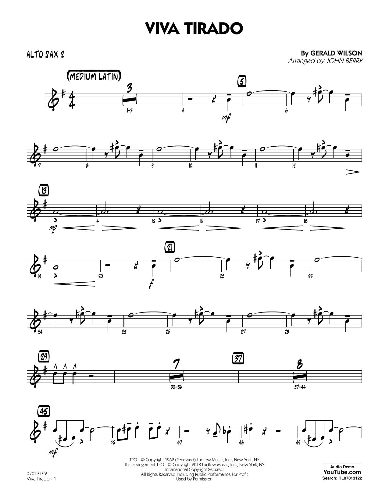 John Berry Viva Tirado - Alto Sax 2 sheet music notes printable PDF score