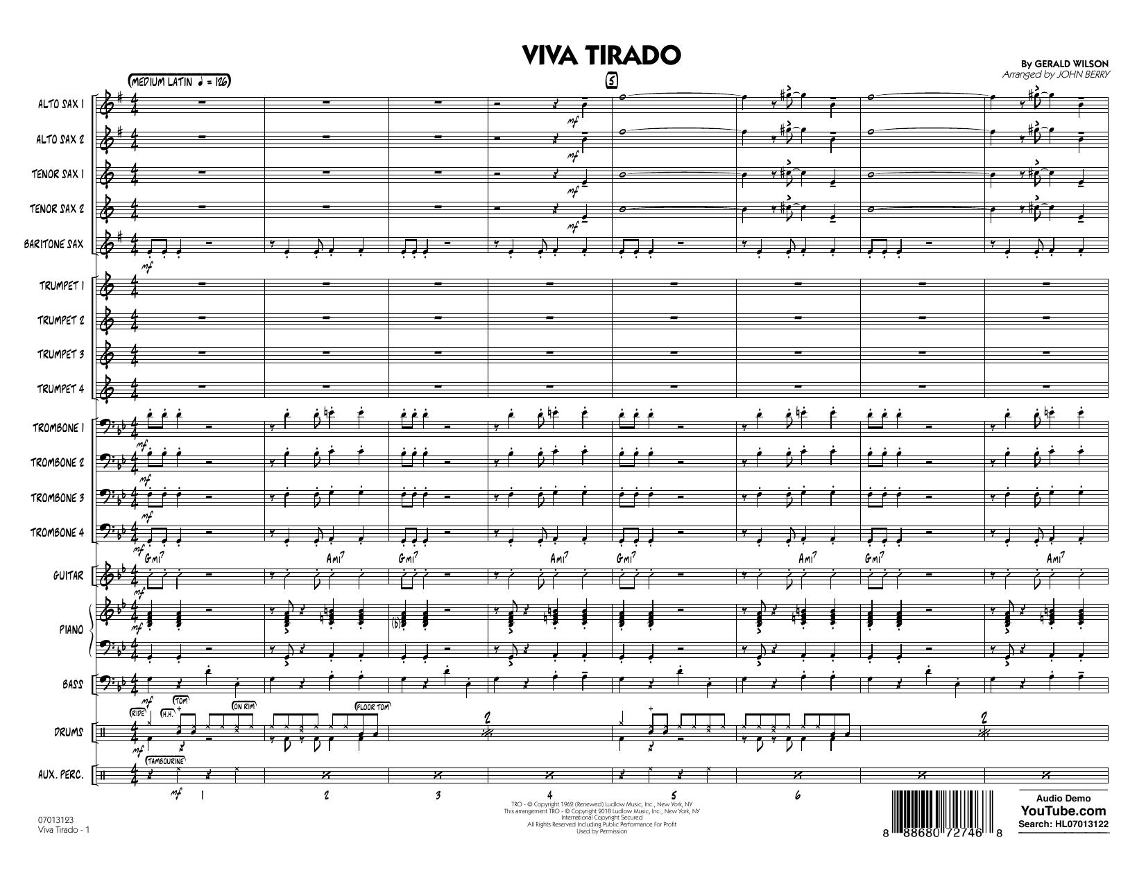 John Berry Viva Tirado - Conductor Score (Full Score) sheet music notes printable PDF score