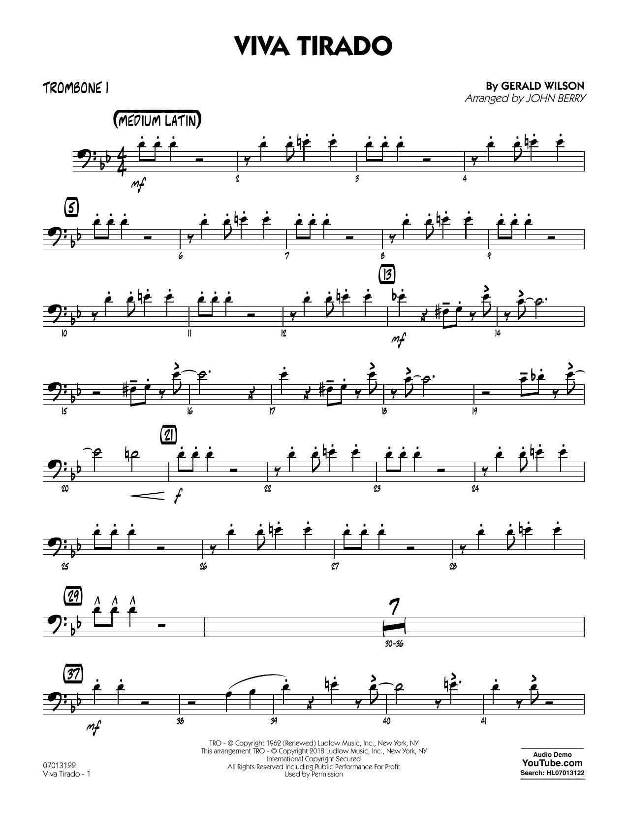 John Berry Viva Tirado - Trombone 1 sheet music notes printable PDF score