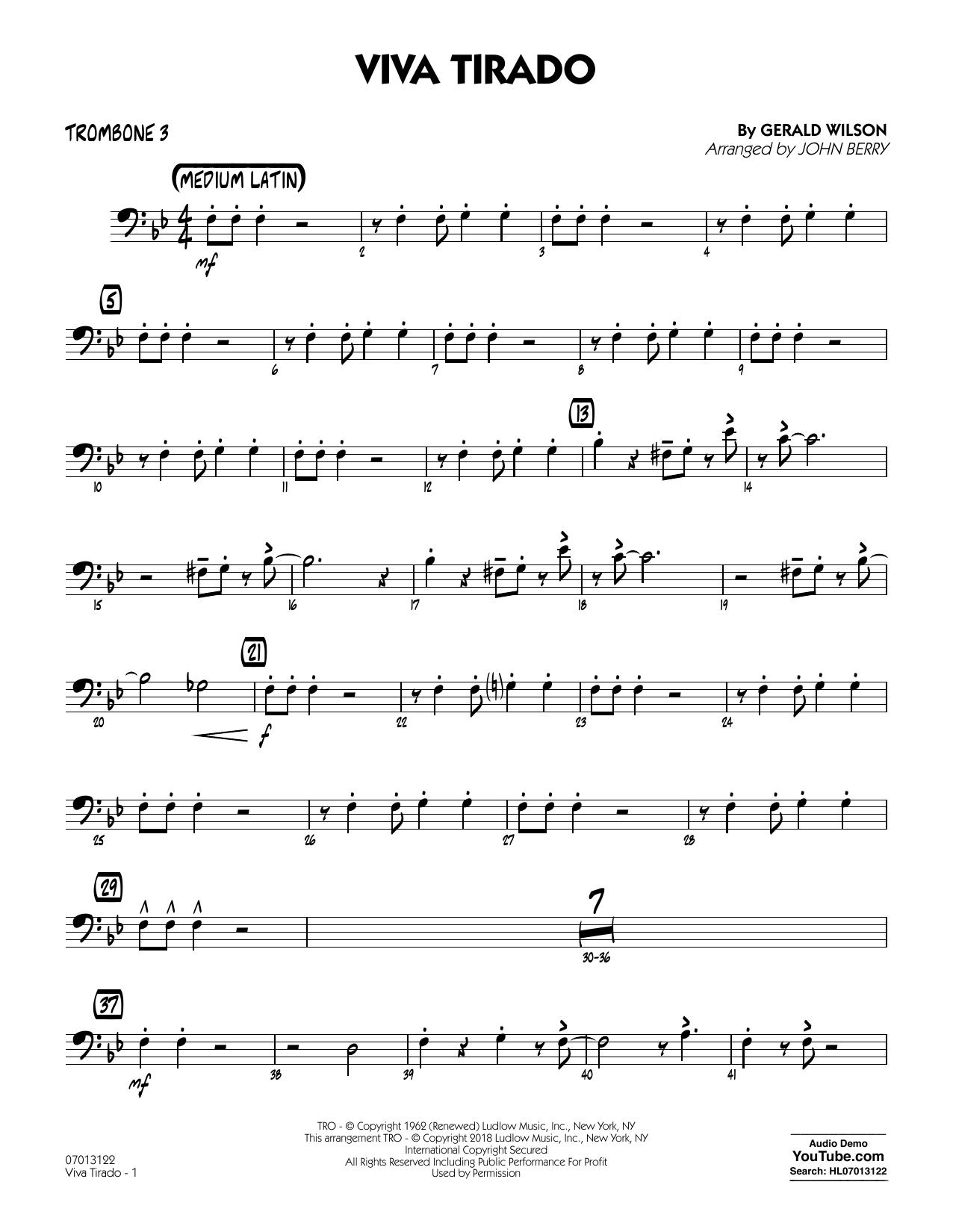 John Berry Viva Tirado - Trombone 3 sheet music notes printable PDF score
