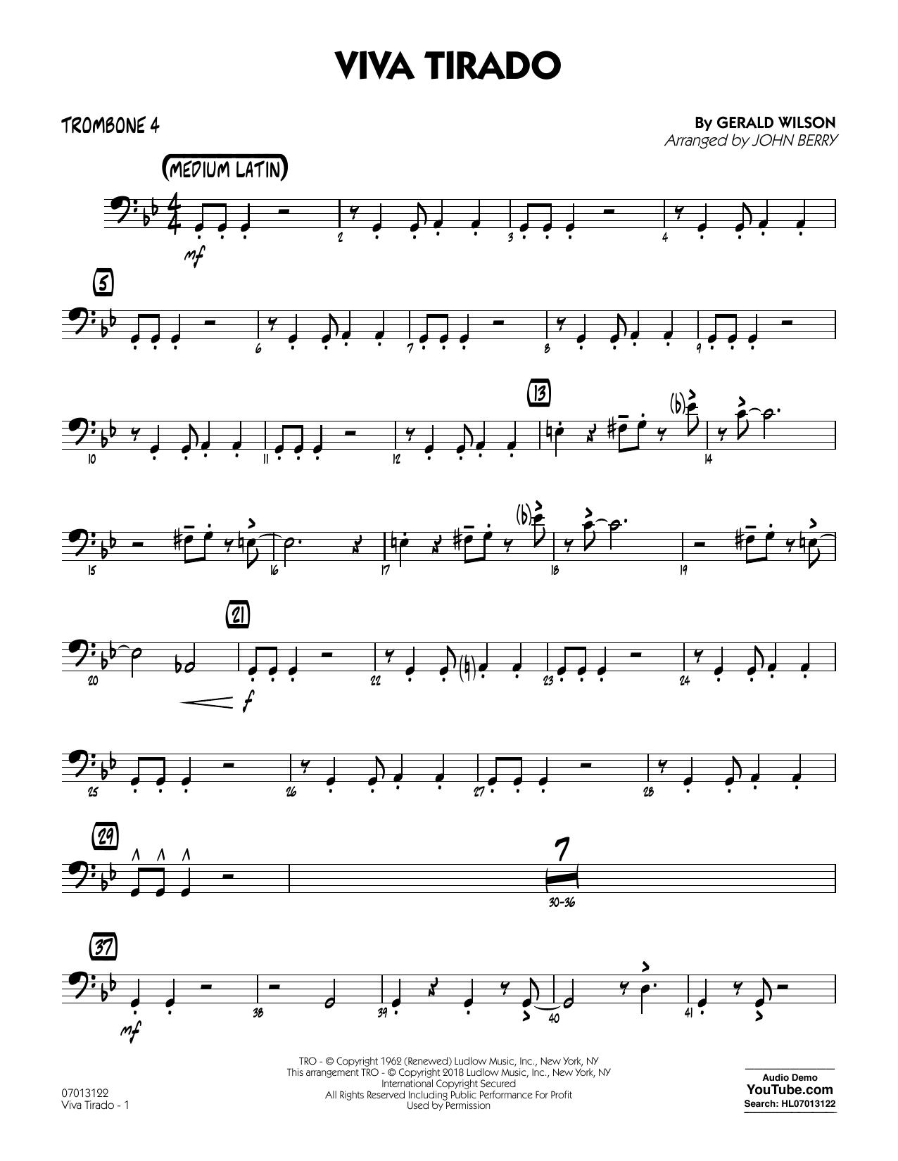 John Berry Viva Tirado - Trombone 4 sheet music notes printable PDF score