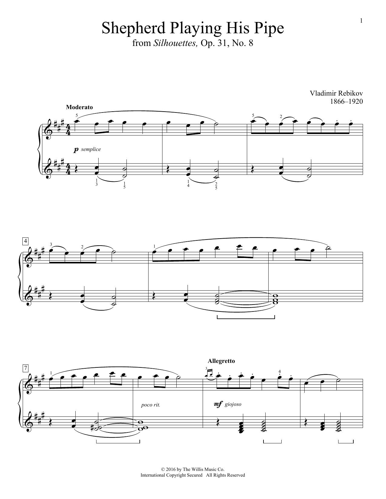 Vladimir Rebikov Shepherd Playing His Pipe sheet music notes and chords. Download Printable PDF.