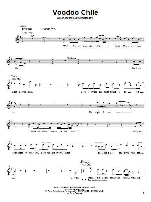 Jimi Hendrix Voodoo Chile sheet music notes printable PDF score