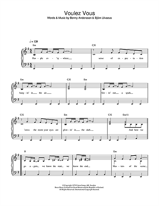 ABBA Voulez Vous sheet music notes printable PDF score