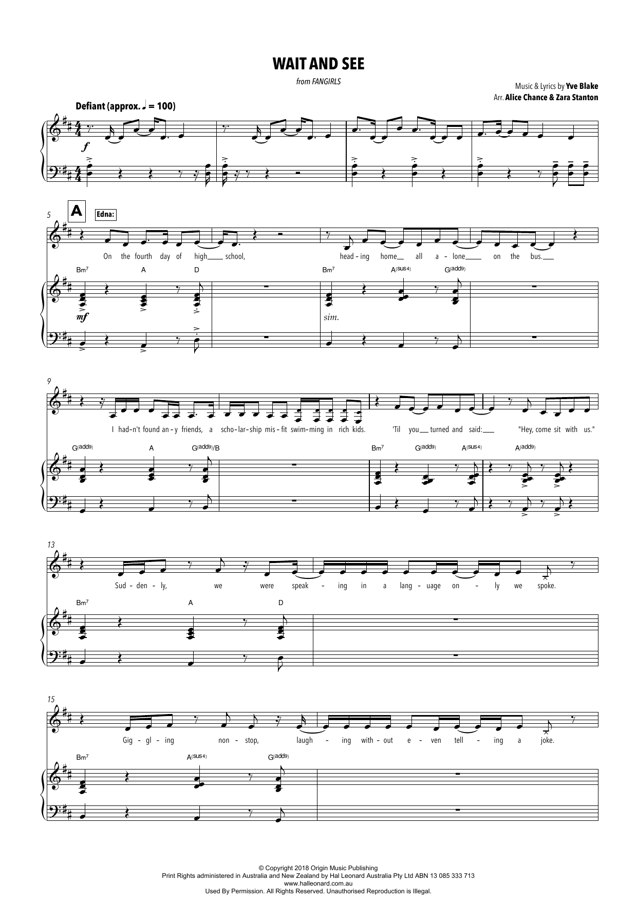 Yve Blake Wait And See (from Fangirls) (arr. Alice Chance and Zara Stanton) sheet music notes printable PDF score