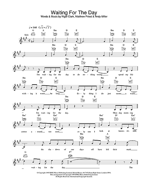 Dodgy Waiting For The Day sheet music notes printable PDF score