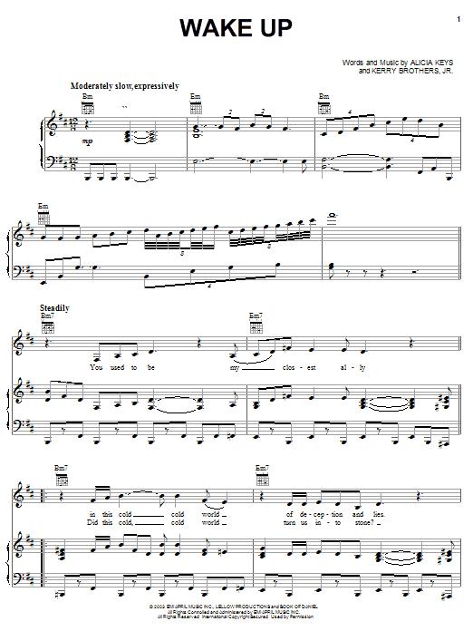Alicia Keys Wake Up sheet music notes printable PDF score