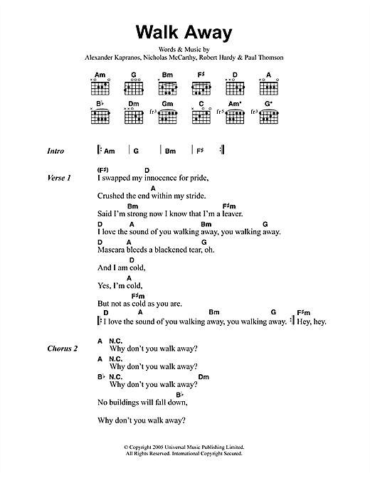 Franz Ferdinand Walk Away sheet music notes printable PDF score
