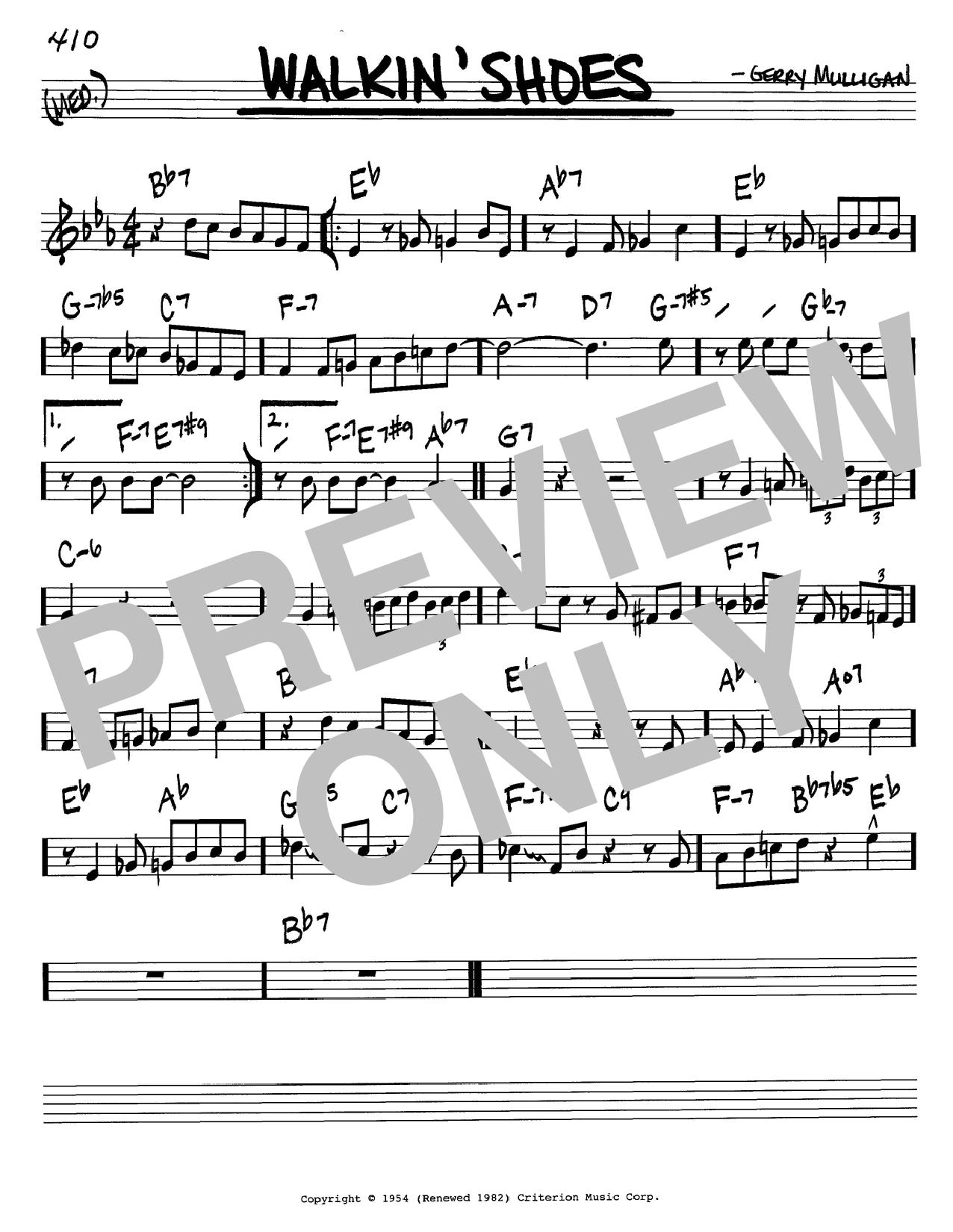Gerry Mulligan Walkin' Shoes sheet music notes printable PDF score