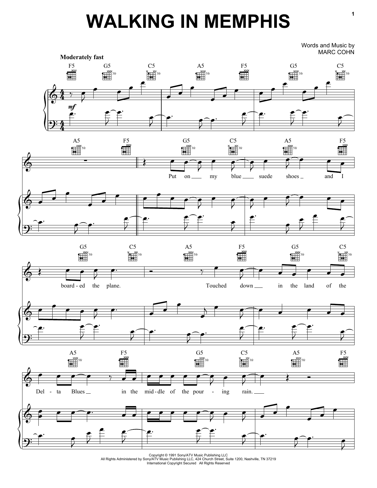 Marc Cohn Walking In Memphis sheet music notes printable PDF score
