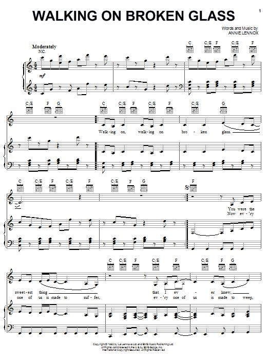 Annie Lennox Walking On Broken Glass sheet music notes printable PDF score