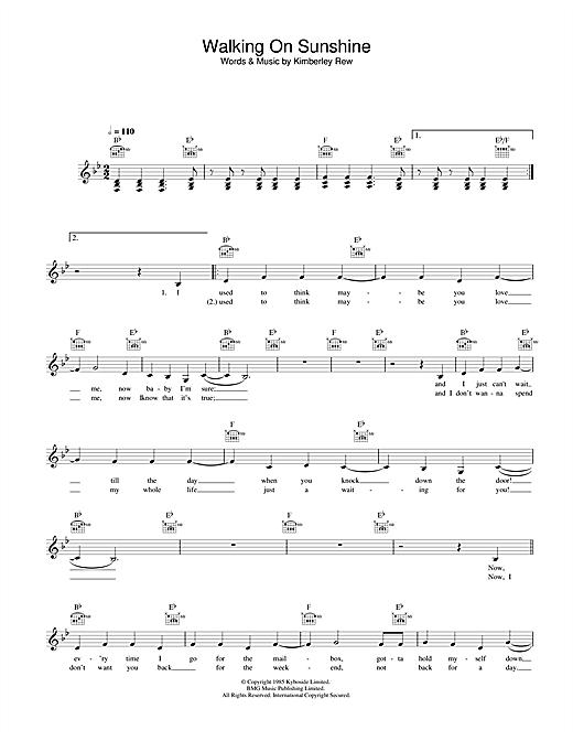Katrina and the Waves Walking On Sunshine sheet music notes printable PDF score