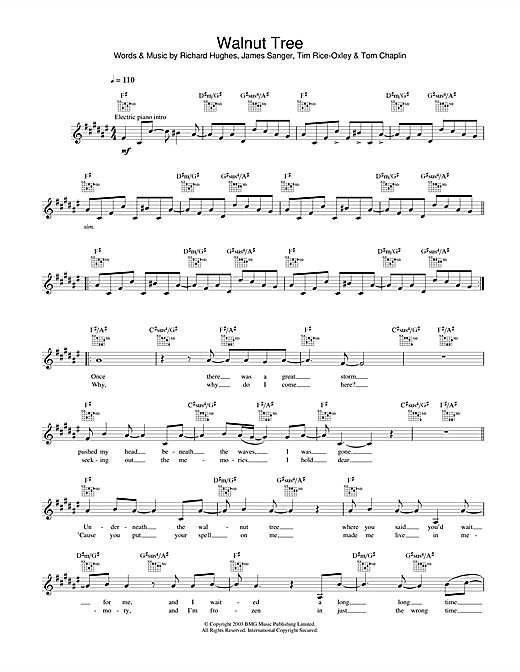 Keane Walnut Tree sheet music notes printable PDF score