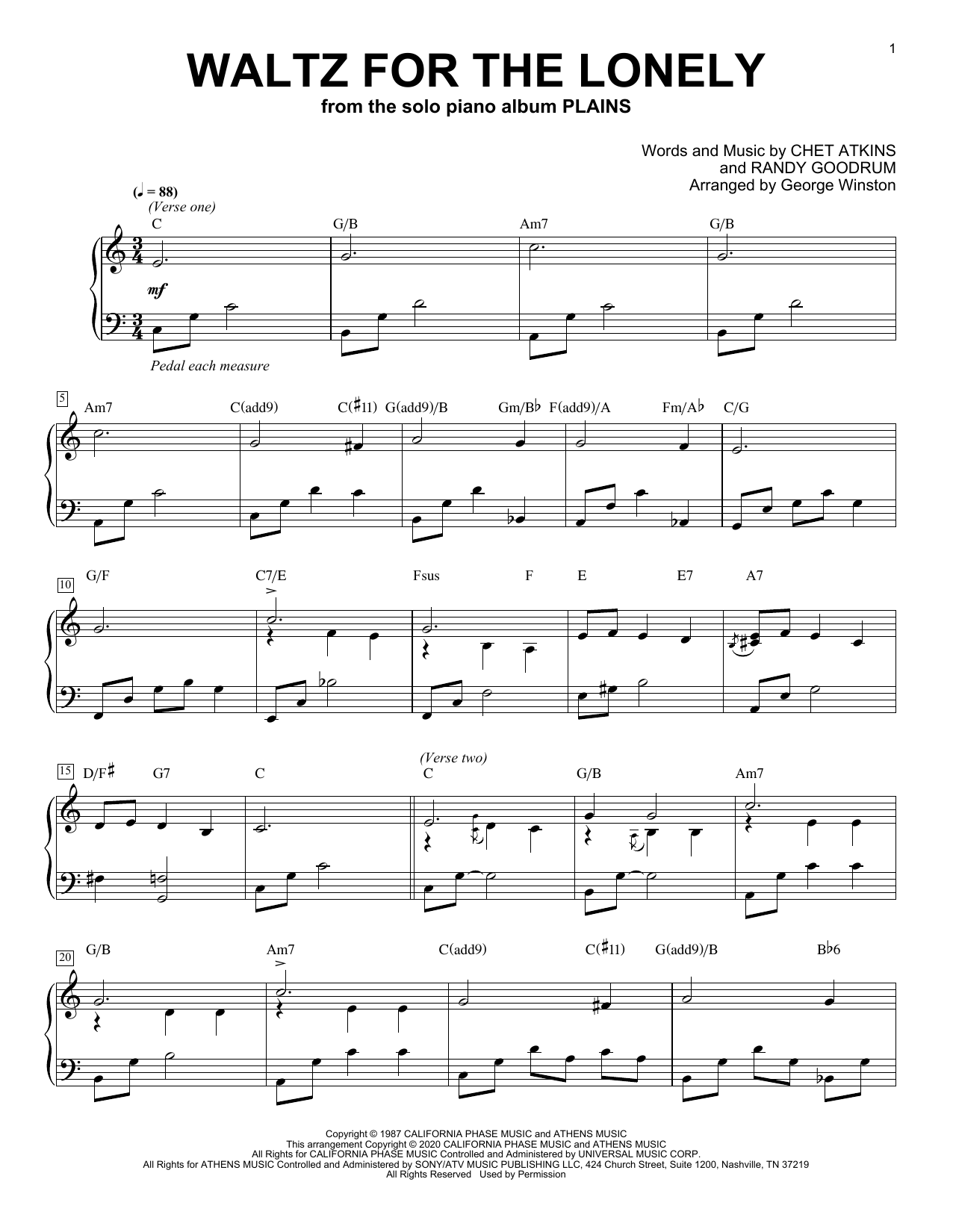 George Winston Waltz For The Lonely sheet music notes printable PDF score