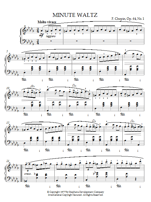 Frederic Chopin Minute Waltz in D flat major Op. 64 No. 1 sheet music notes printable PDF score