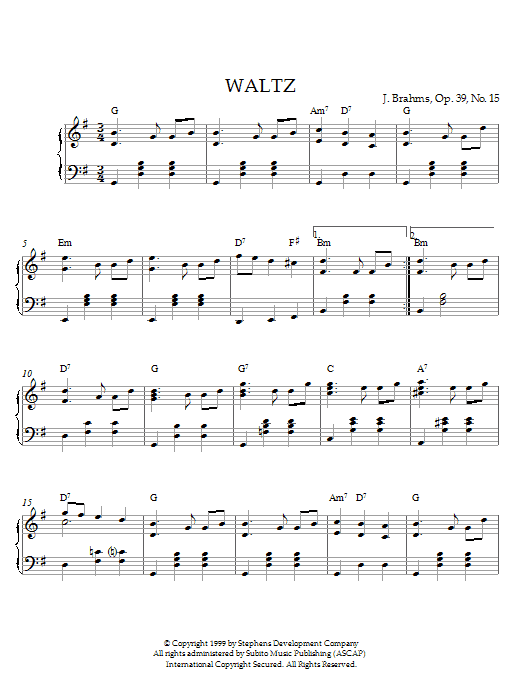 Johannes Brahms Waltz In G Major, Op. 39, No. 15 sheet music notes printable PDF score