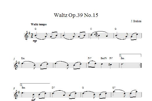 Johannes Brahms Waltz Op.39 No.15 sheet music notes printable PDF score