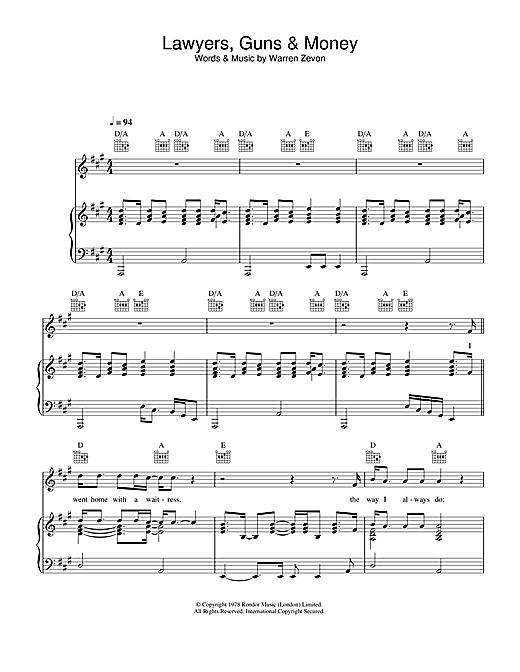 Warren Zevon Lawyers, Guns And Money sheet music notes printable PDF score