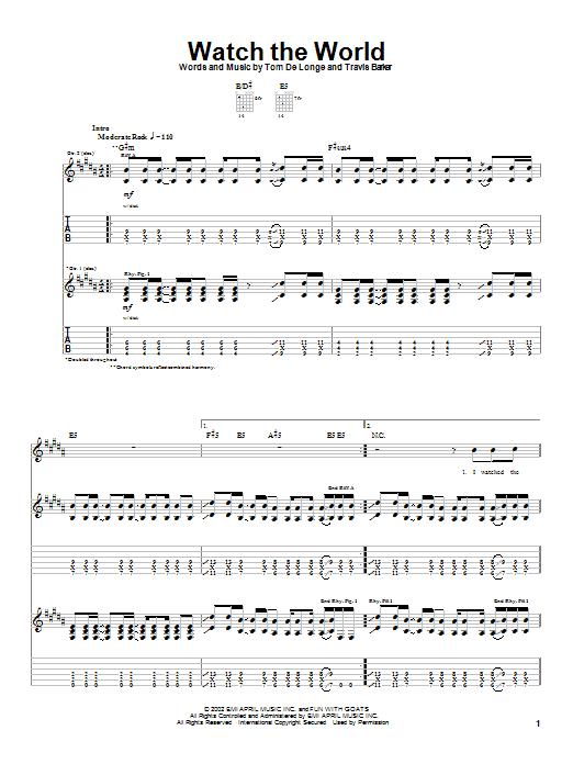Box Car Racer Watch The World sheet music notes printable PDF score