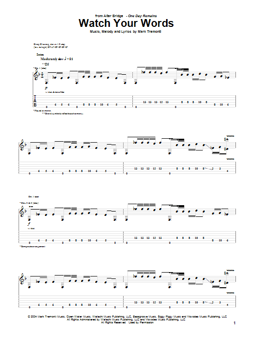 Alter Bridge Watch Your Words sheet music notes printable PDF score