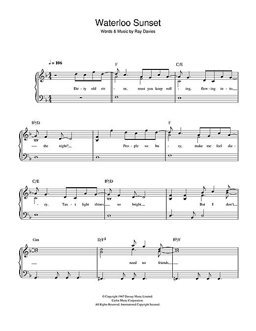 The Kinks Waterloo Sunset sheet music notes printable PDF score