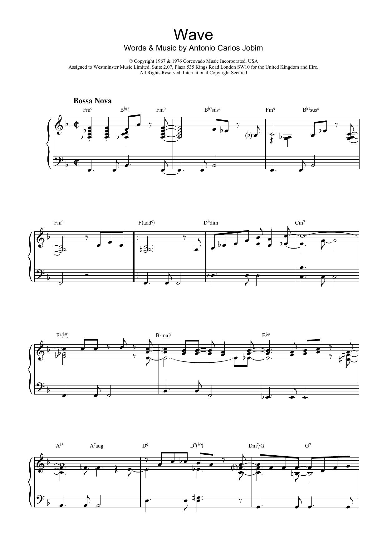 Antonio Carlos Jobim Wave sheet music notes printable PDF score