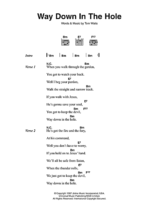 Tom Waits Way Down In The Hole sheet music notes printable PDF score