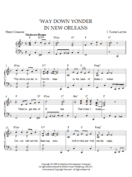 Louis Armstrong Way Down Yonder In New Orleans sheet music notes printable PDF score