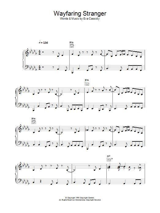 Eva Cassidy Wayfaring Stranger sheet music notes printable PDF score