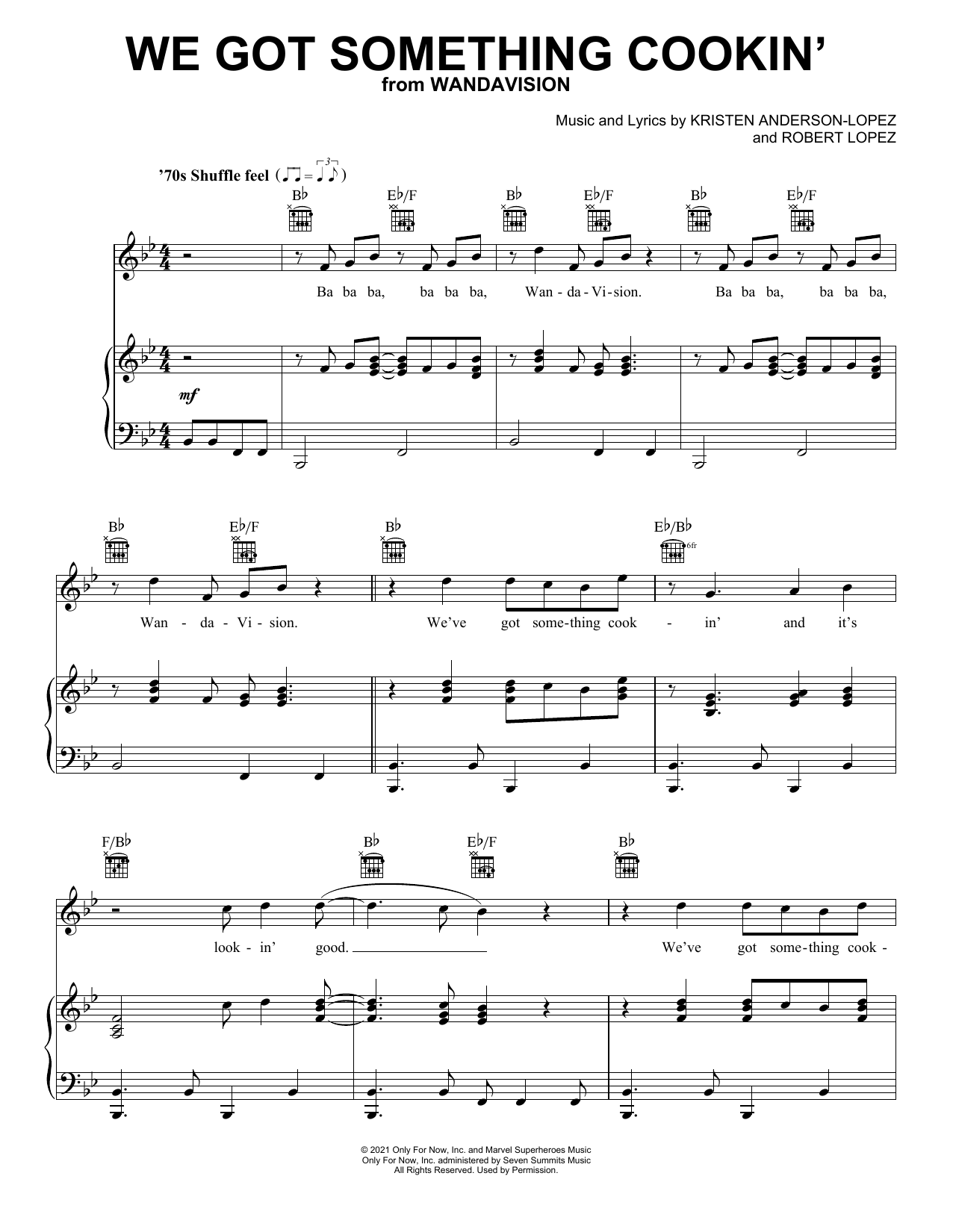 Kristen Anderson-Lopez & Robert Lopez We Got Something Cookin' (from WandaVision) sheet music notes printable PDF score