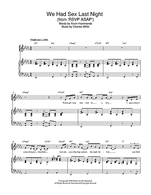 Charles Miller & Kevin Hammonds We Had Sex Last Night (from RSVP ASAP) sheet music notes printable PDF score