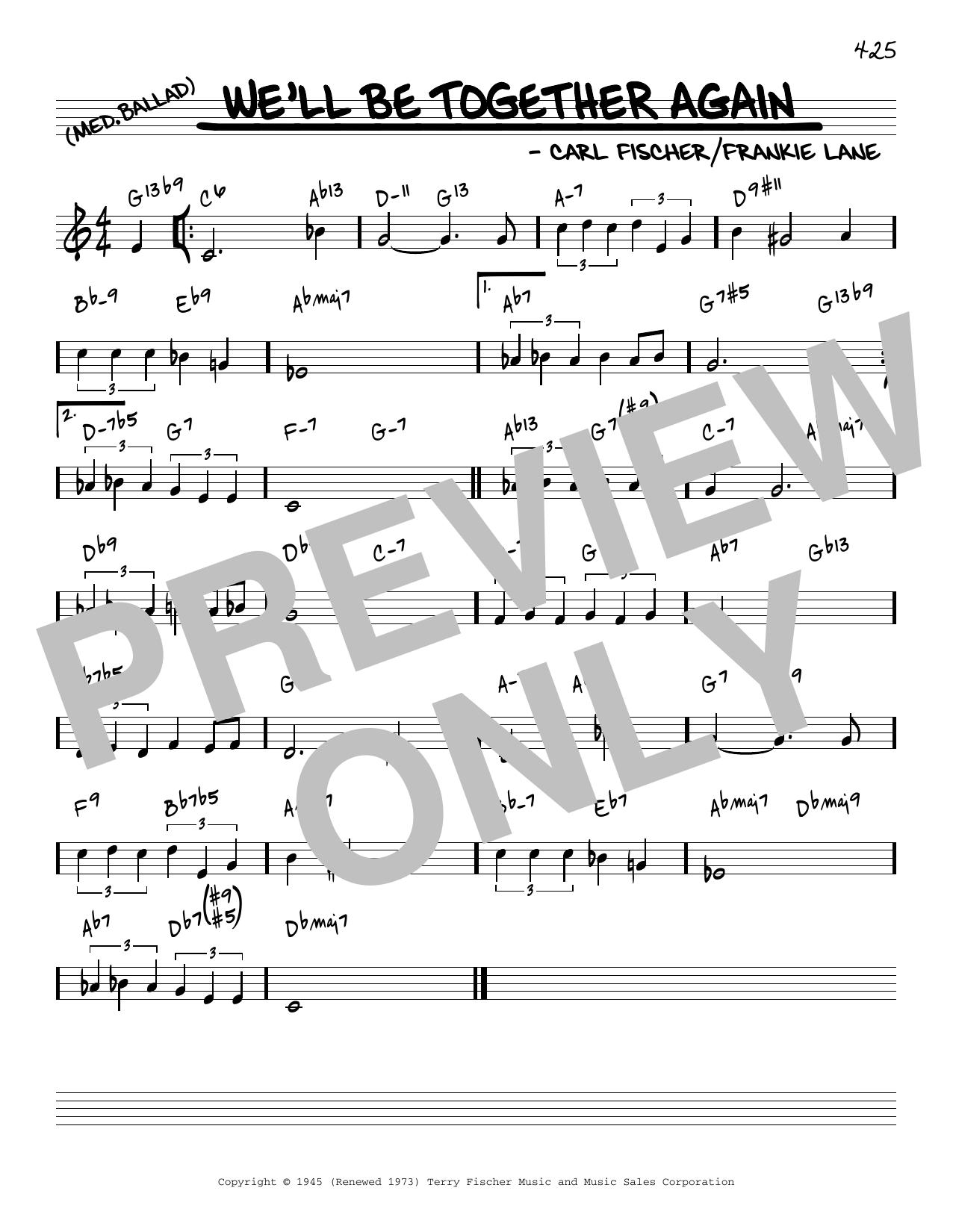 Frankie Laine We'll Be Together Again [Reharmonized version] (arr. Jack Grassel) sheet music notes printable PDF score