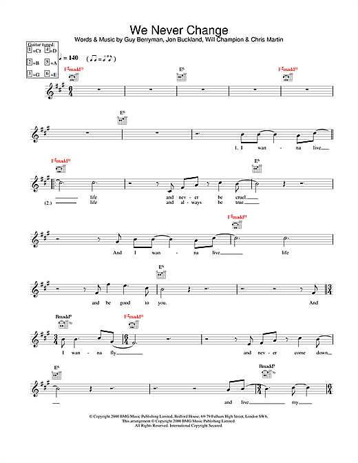 Coldplay We Never Change sheet music notes printable PDF score