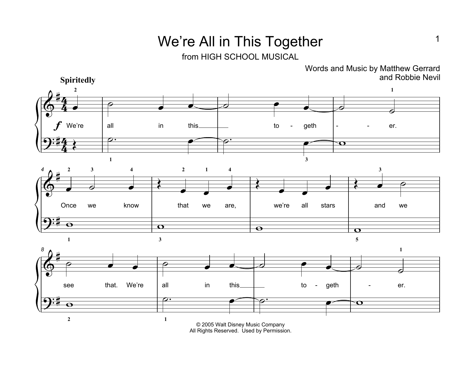 Matthew Gerrard & Robbie Nevil We're All In This Together (from High School Musical) (arr. Christopher Hussey) sheet music notes printable PDF score