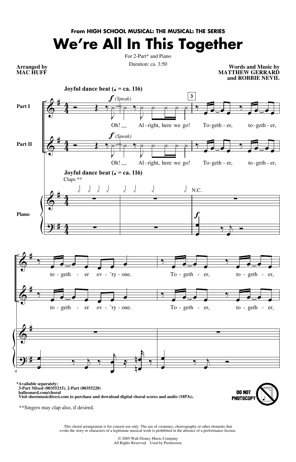 Cast of High School Musical: The Musical: The Series We're All In This Together (from High School Musical: The Musical: The Series) (arr. Mac Huff) sheet music notes printable PDF score