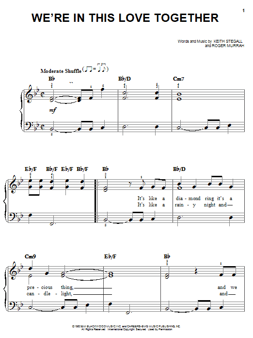 Al Jarreau We're In This Love Together sheet music notes printable PDF score