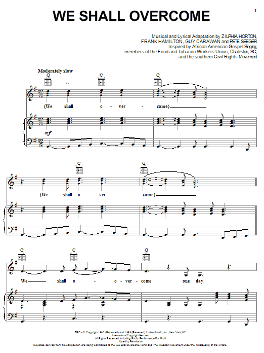 Pete Seeger We Shall Overcome sheet music notes printable PDF score