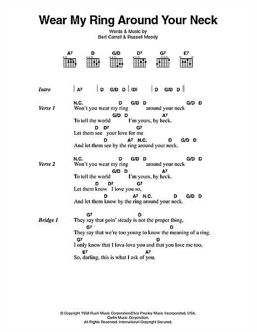 Elvis Presley Wear My Ring Around Your Neck sheet music notes printable PDF score